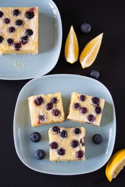 LEMON BLUEBERRY SQUARES. Tangy and sweet lemon curd with juicy blueberries over a buttery shortbread crust.