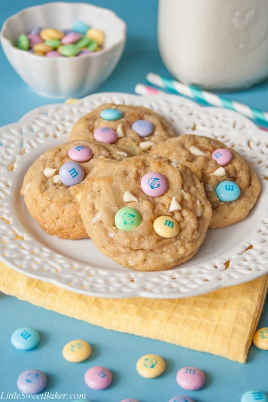 SOFT BAKED M&M COOKIES WITH QUINOA FLAKES. Super soft and chewy cookie, crunchy milk chocolate m&m's and creamy white chocolate.
