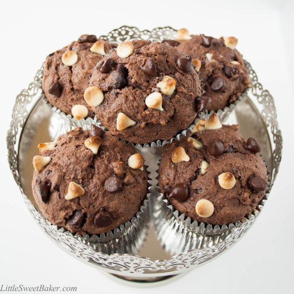TRIPLE CHOCOLATE MUFFINS. Sour cream chocolate muffin with dark and white chocolate chips. Moist and full of chocolate-y flavors. Great for breakfast or as a snack.