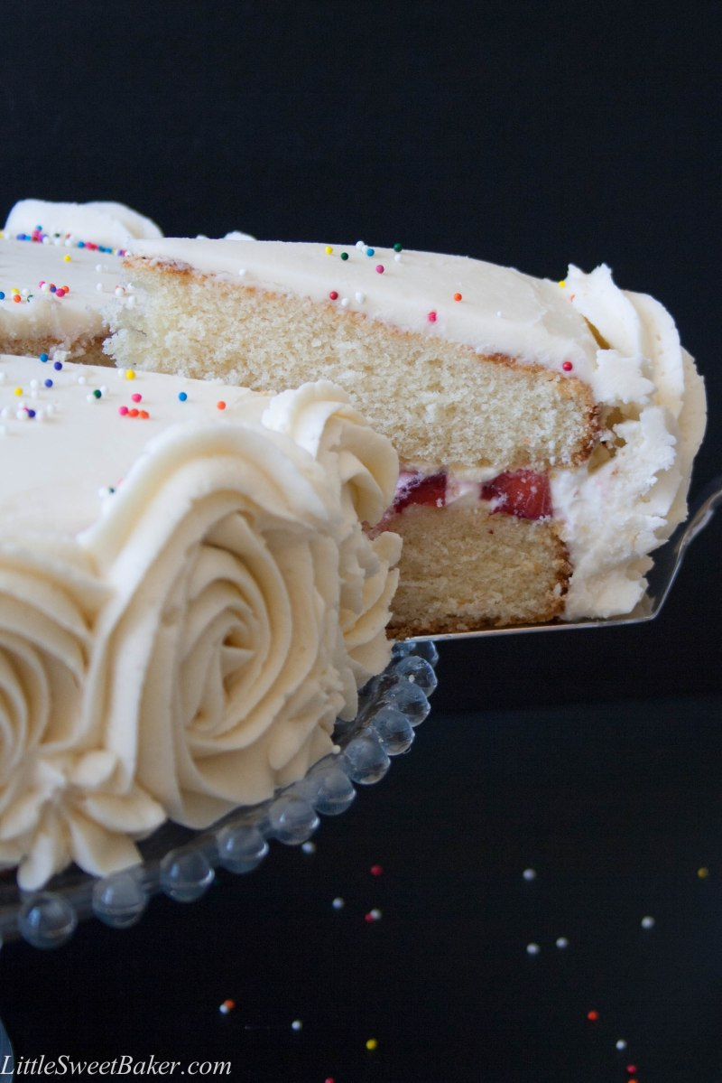 Vanilla Party Cake (with strawberries and cream filling)