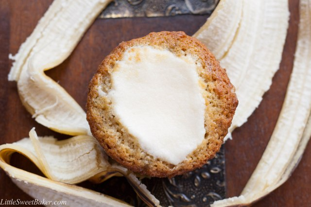 The Ultimate Best Banana Muffin. Light, fluffy and cake-like banana muffin with a cream cheese meringue baked on top. My favorite banana baked good.