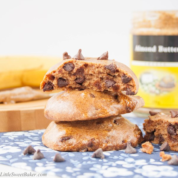 healthy flourless almond butter banana cookies with chocolate chips