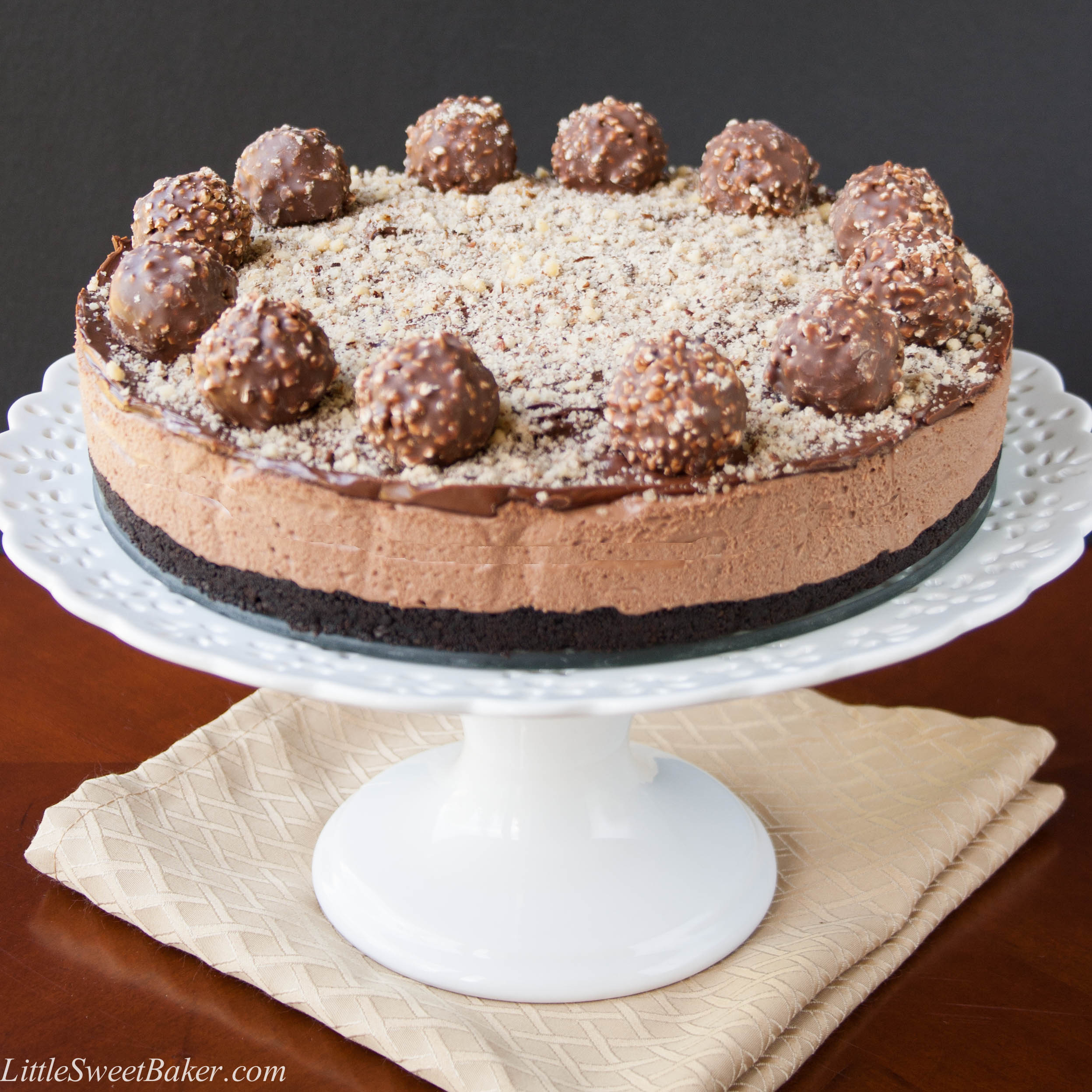 creamy chocolate hazelnut cheesecake filling, topped with a chocolate ...