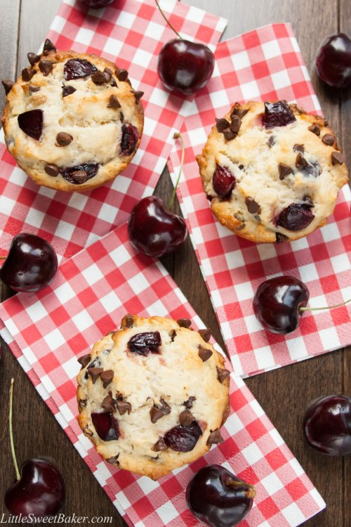 CHERRY CHOCOLATE CHIP MUFFINS Fresh juicy cherries and mini chocolate chips in a soft, fluffy and buttery muffin. These delicious muffins are made with only 4 tbsp of butter and 1/2 cup of sugar.