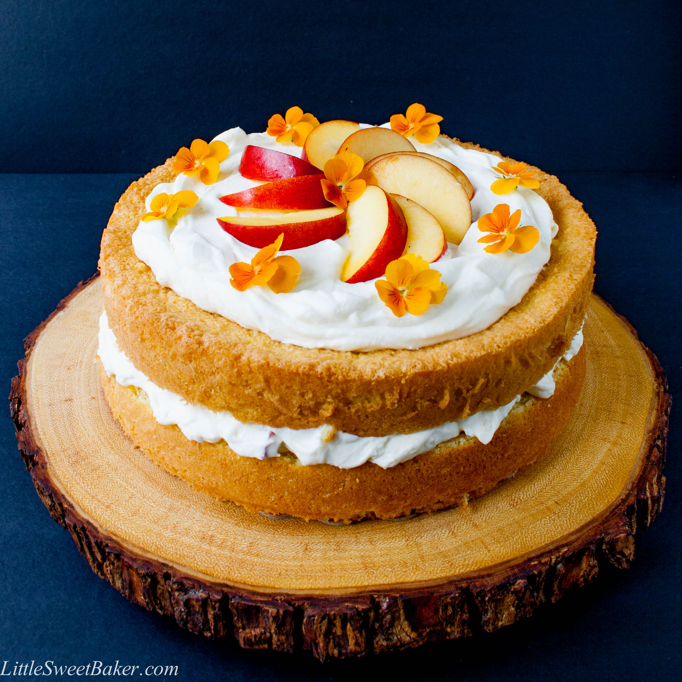 PEACHES AND CREAM CAKE. A simple 3-ingredient sponge cake with a fresh ...