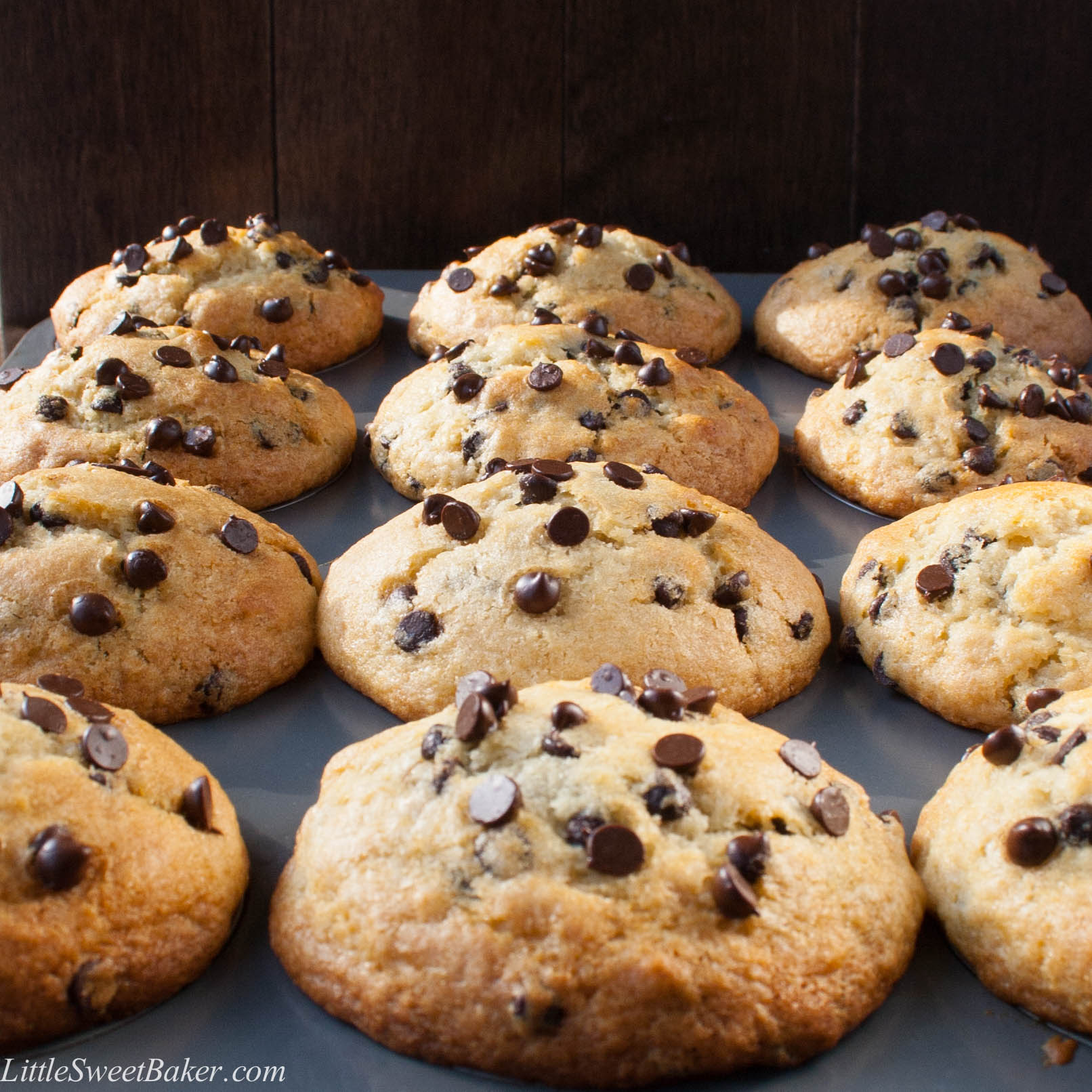 BAKERY STYLE CHOCOLATE CHIP MUFFINS. A crispy sky-high muffin top ...