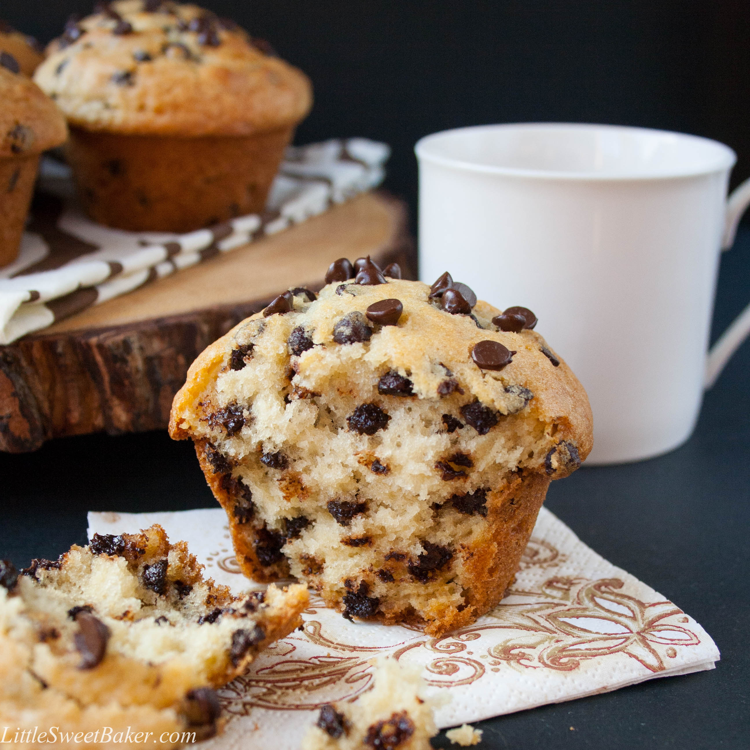 CHIP MUFFINS. A crispy sky-high muffin top, full of chocolate chips ...