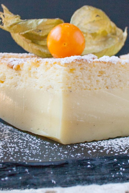 VANILLA BEAN MAGIC CAKE. One simple batter that bakes into 3 different delicious layers, a chewy dense base, a creamy custard centre and a fluffy sponge cake on top. It's truly magic!
