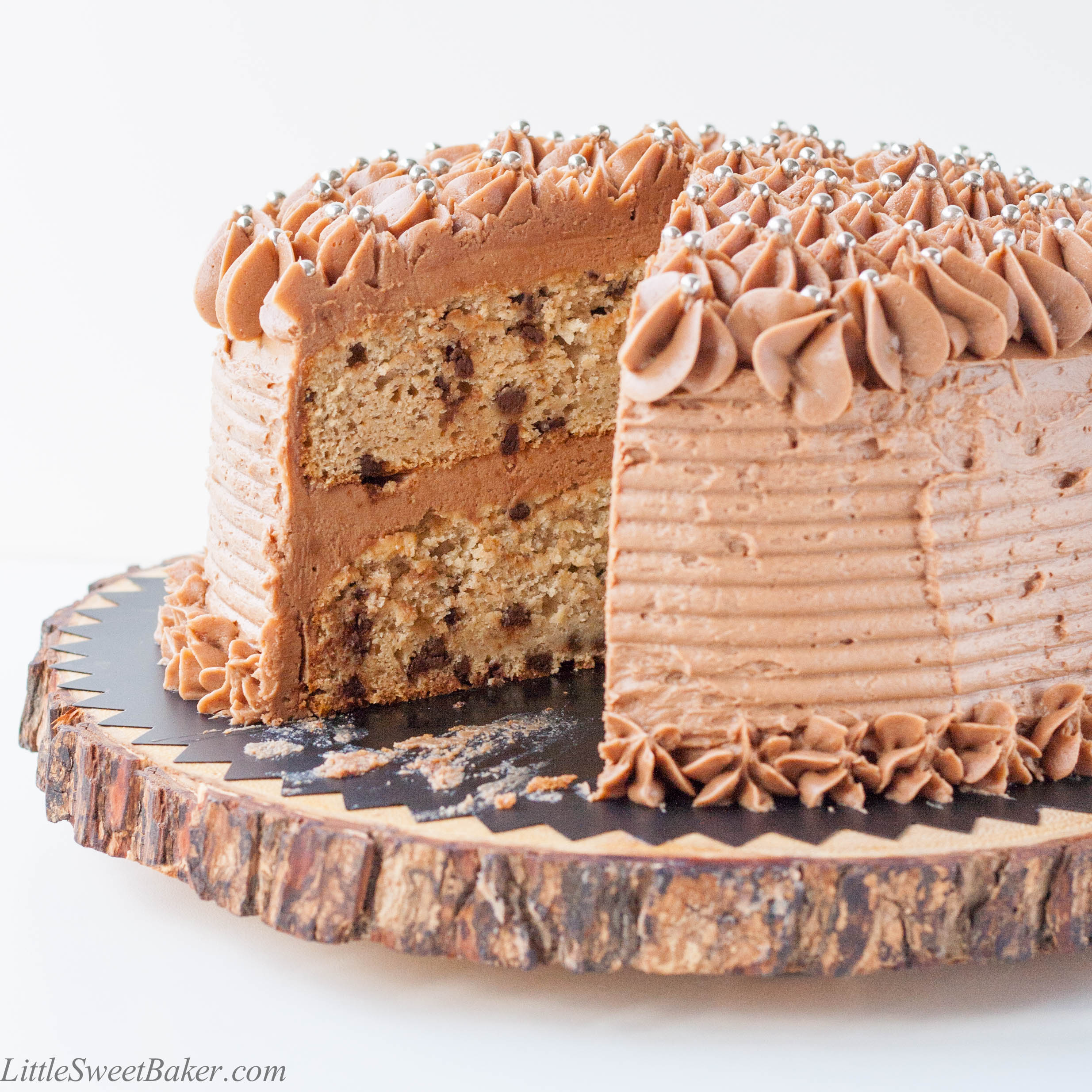 Banana Chocolate Chip Cake With Buttercream Frosting