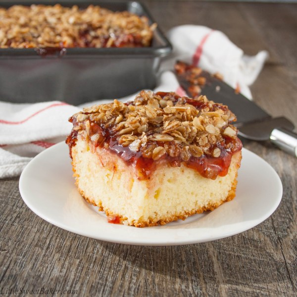 FRUIT STREUSEL COFFEE CAKE. A tasty yogurt coffee cake, topped with sweet strawberry pie filling and a crunchy cinnamon brown sugar streusel.
